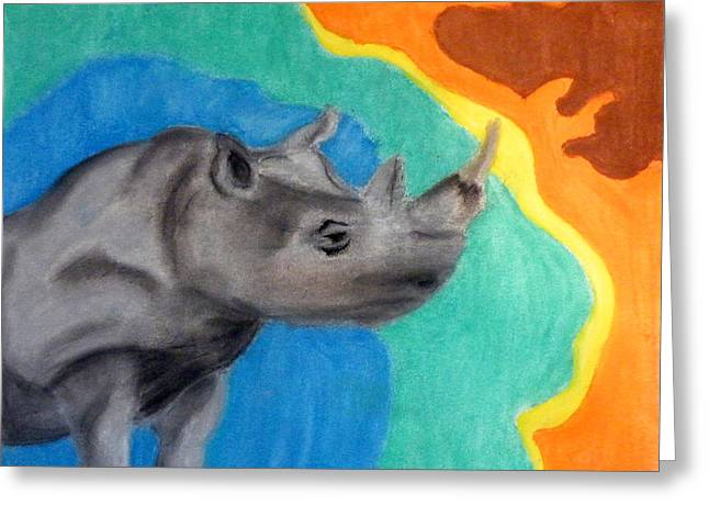 Rhinoceros Pastels Greeting Cards - A Cheerful Rhino Greeting Card by Kimmary I MacLean