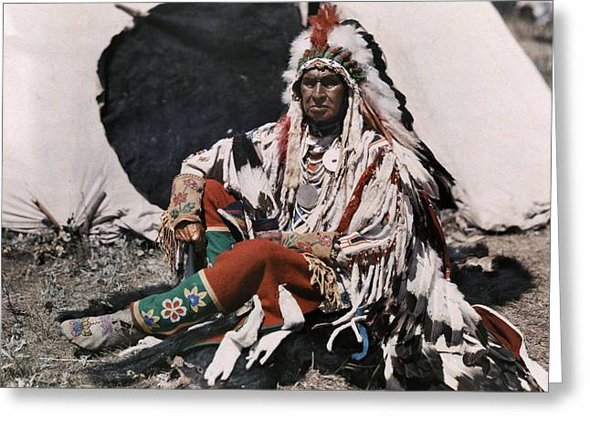 North American Indian Ethnicity Greeting Cards - A Chief On The Crow Indian Reservation Greeting Card by Edwin L. Wisherd
