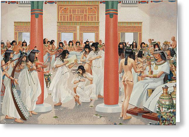 Banquet Greeting Cards - A Chief Priest Gives A Formal Banquet Greeting Card by H.M. Herget