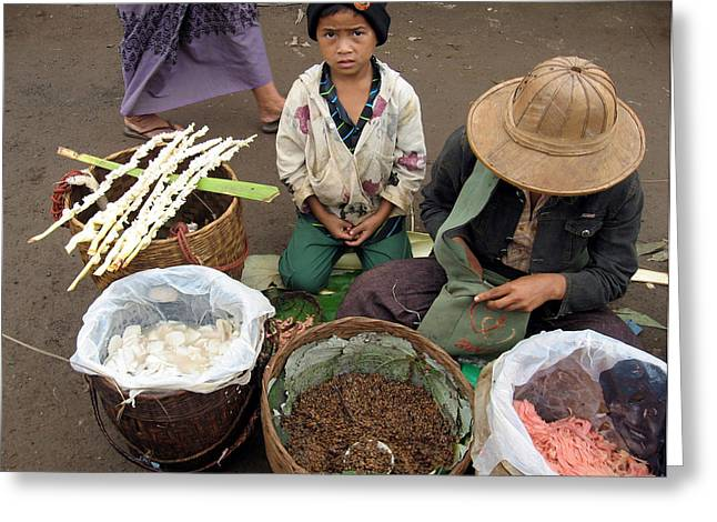 Documentary Photography Greeting Cards - A child in the market of Aungban - Myanmar Greeting Card by RicardMN Photography