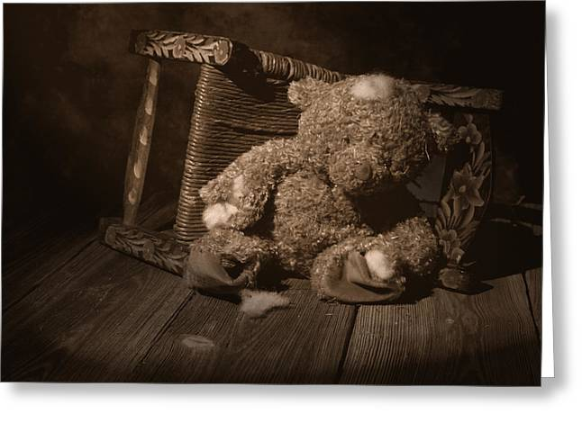 Teddybear Greeting Cards - A Child Once Loved Me Greeting Card by Tom Mc Nemar