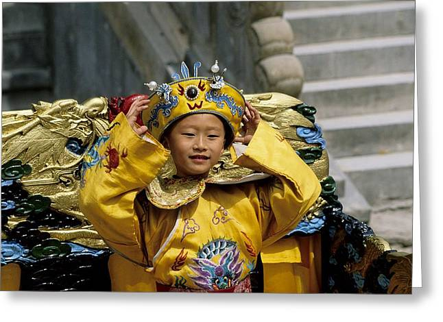 National Children Greeting Cards - A Child Poses In Traditional Clothes Greeting Card by Raymond Gehman