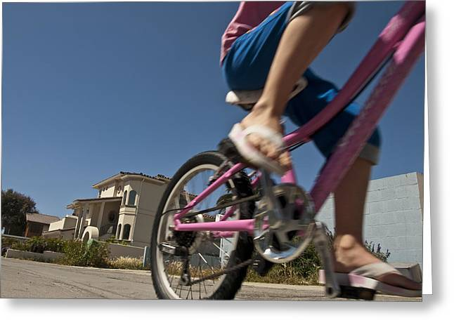 Ventura California Greeting Cards - A Child Rides Her Bike Along The Beach Greeting Card by Stacy Gold
