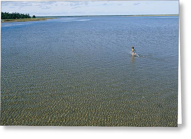 National Children Greeting Cards - A Child Running Through The Water Greeting Card by Michael S. Lewis