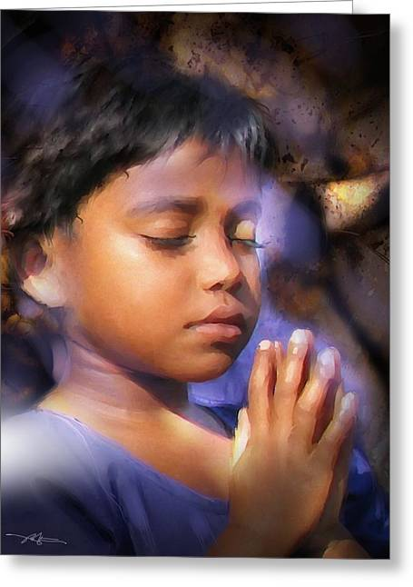 Religious Mixed Media Greeting Cards - A Childs Prayer Greeting Card by Bob Salo