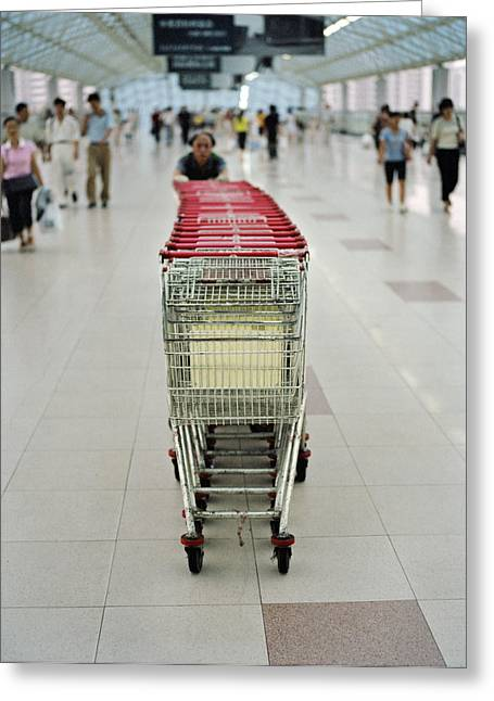 Livelihood Greeting Cards - A Chinese Man Pushes Shopping Carts Greeting Card by Justin Guariglia