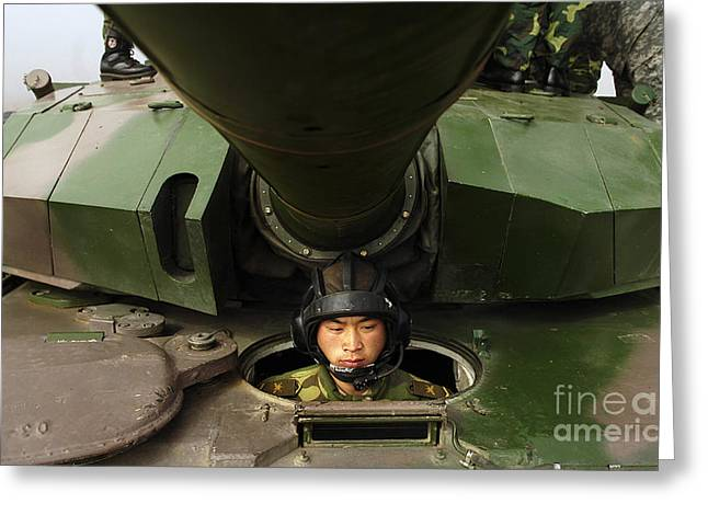 Chinese Ethnicity Greeting Cards - A Chinese Tanker Soldier Greeting Card by Stocktrek Images