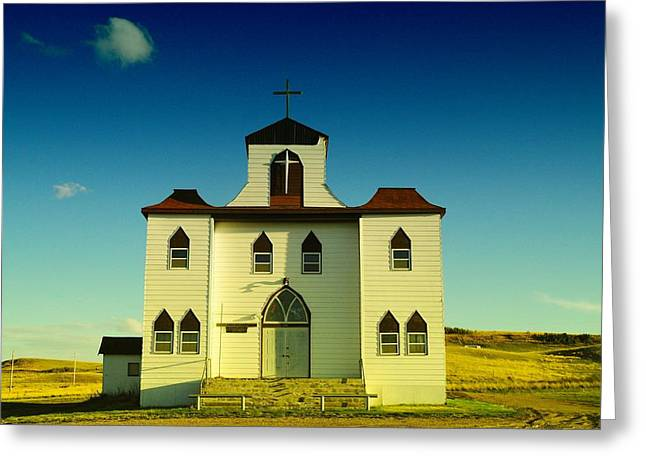 Bainville Montana Greeting Cards - A Church In Bainville Montana Greeting Card by Jeff  Swan
