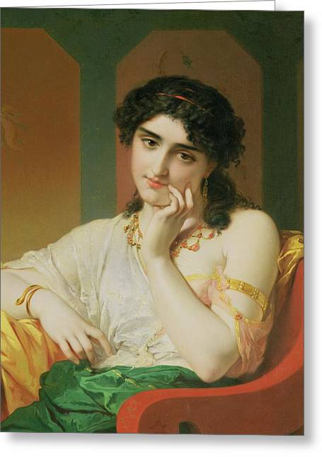 Pensive Greeting Cards - A Classical Beauty Greeting Card by Oliver Joseph Coomans
