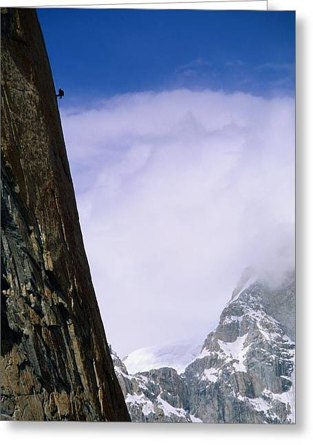 Nameless Greeting Cards - A Climber Rappels Down The Sheer Greeting Card by Bill Hatcher