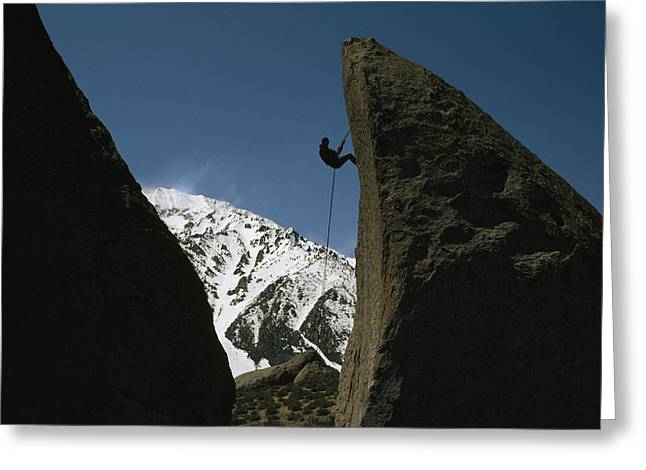 Rappel Greeting Cards - A Climber Rappels Off Grandma Boulder Greeting Card by Gordon Wiltsie