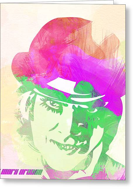Orange Posters Greeting Cards - A Clockwork Orange Greeting Card by Naxart Studio