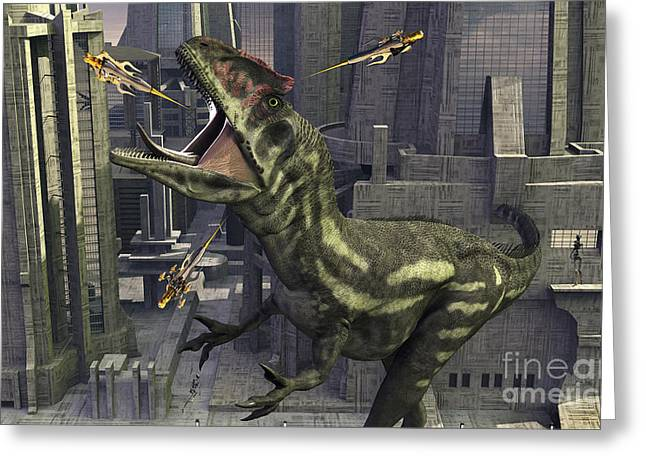 A Cloned Allosaurus Being Sedated Greeting Card by Mark Stevenson