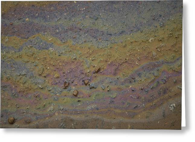 Recently Sold -  - Oil Slick Greeting Cards - A Close-up Of A Parking Lot Oil Slick Greeting Card by Joel Sartore
