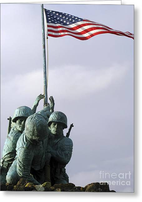 Figure Based Greeting Cards - A Close Up Of The Iwo Jima Bronze Greeting Card by Michael Wood