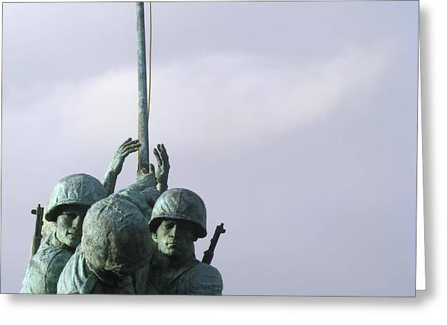 A Close Up Of The Iwo Jima Bronze Greeting Card by Michael Wood