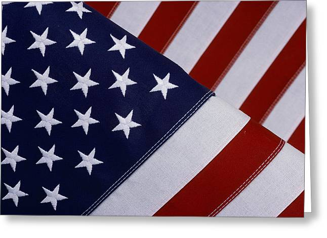 American National Flag Greeting Cards - A Close-up Of The Stars And Stripes Greeting Card by Todd Gipstein