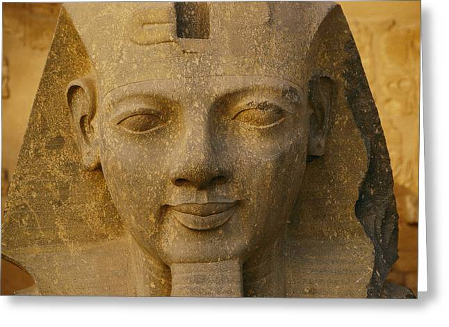 Luxor Greeting Cards - A Close View Of A Large Statue At Luxor Greeting Card by Kenneth Garrett
