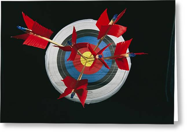 Light And Dark Greeting Cards - A Close View Of Arrows Stuck In A Bulls Greeting Card by Richard Nowitz