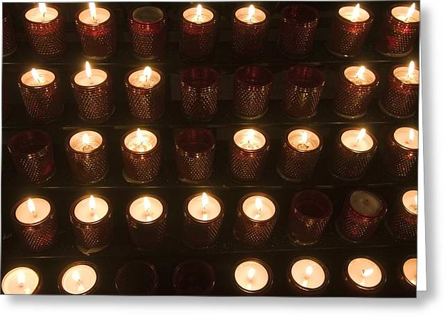 Devotional Art Photographs Greeting Cards - A Close View Of Votive Lamps Greeting Card by Taylor S. Kennedy