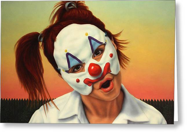 Mask Greeting Cards - A clown in my backyard Greeting Card by James W Johnson