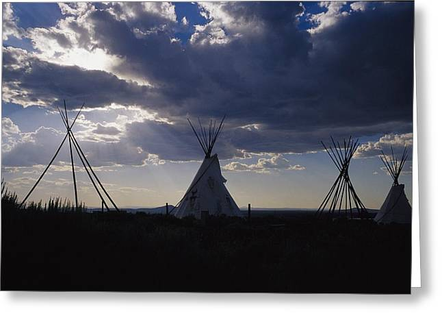 Taos Greeting Cards - A Cluster Of Teepees And Frames Greeting Card by Raul Touzon