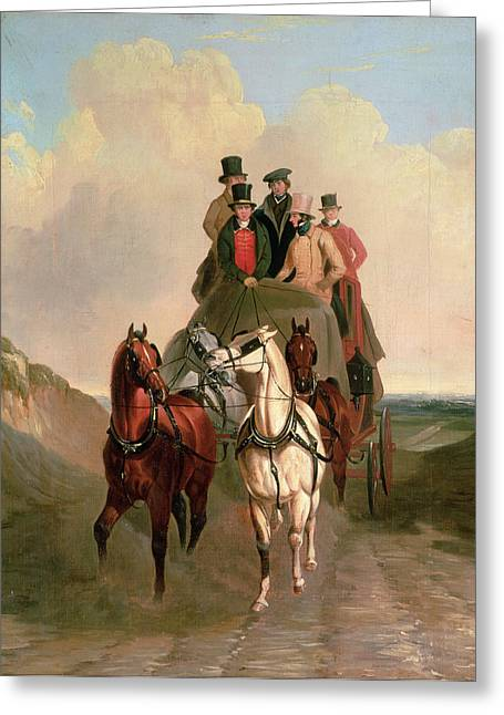 Road Travel Paintings Greeting Cards - A Coach and Four on an Open Road  Greeting Card by William Snr Shayer