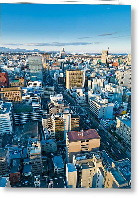 Winter Road Scenes Greeting Cards - A cold day in Sendai Japan Greeting Card by Ulrich Schade