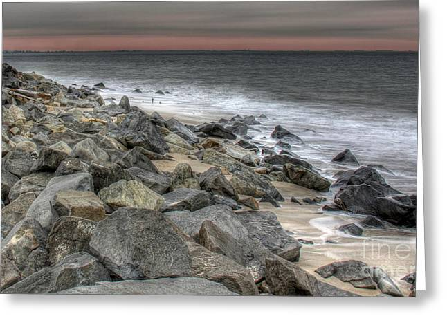 A Hot Summer Day Greeting Cards - A Cold Day on a December Beach Greeting Card by Lee Dos Santos