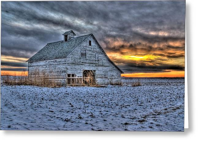 Field. Cloud Greeting Cards - A Cold Evening Greeting Card by Donna Caplinger