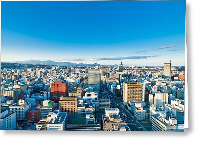 Winter Road Scenes Greeting Cards - A cold sunny day in Sendai Japan Greeting Card by Ulrich Schade