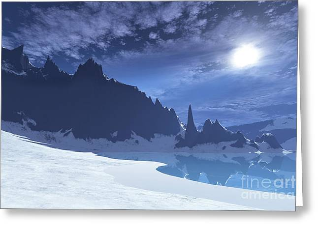 Moon Beach Digital Art Greeting Cards - A Cold Winter Night On This Beach Greeting Card by Corey Ford