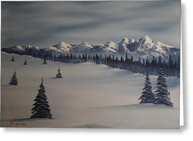 Bob Ross Paintings Greeting Cards - A Cold Winter Slope Greeting Card by John Koehler