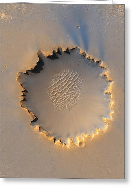 Victoria Crater Greeting Cards - A Color-enhanced Satellite View Greeting Card by Nasa