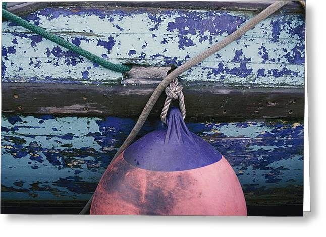 Kodiak Island Greeting Cards - A Colorful Buoy Hangs From Ropes Greeting Card by George F. Mobley