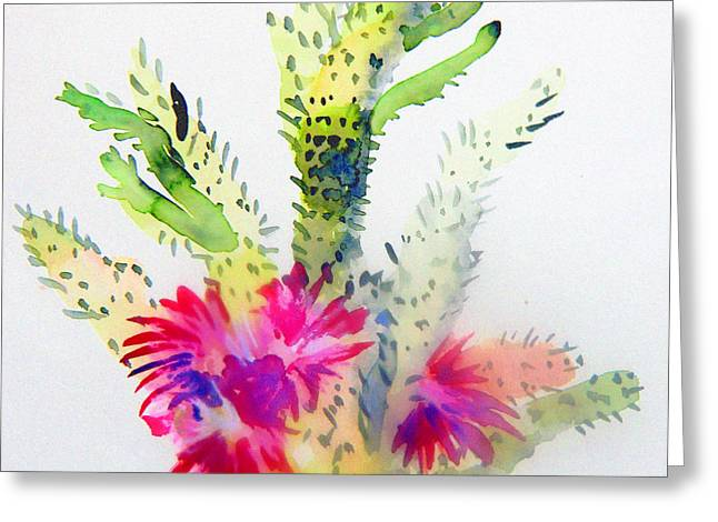 Arizonia Greeting Cards - A Colorful Cactus Greeting Card by Mindy Newman