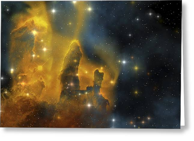 Celestial Pillars.celestial Greeting Cards - A Colorful Nebula Shines Bright Greeting Card by Corey Ford