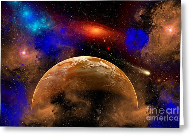 Luminous Globe Greeting Cards - A Colorful Star System Illuminated Greeting Card by Mark Stevenson