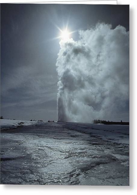 Old Faithful Geyser Greeting Cards - A Column Of Boiling Water And Steam Greeting Card by James P. Blair