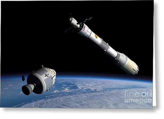 Orbit Digital Art Greeting Cards - A Command Module Approaches An Awaiting Greeting Card by Walter Myers