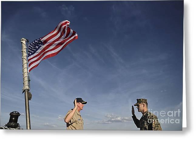 Enlistment Greeting Cards - A Commander Administers The Oath Greeting Card by Stocktrek Images