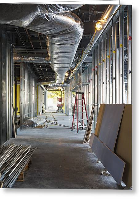 Construction Frame Greeting Cards - A Commercial Building Greeting Card by Don Mason