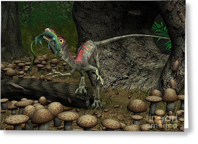 Existence Greeting Cards - A Compsognathus Prepares To Swallow Greeting Card by Walter Myers