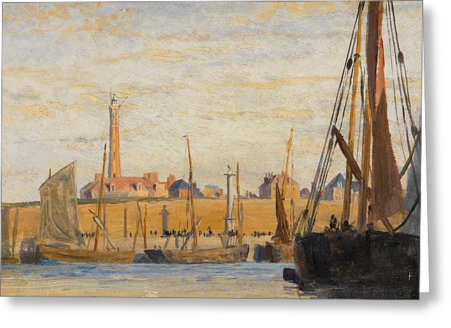 Blue Sailboat Greeting Cards - A Continental Harbor Greeting Card by William Lionel Wyllie