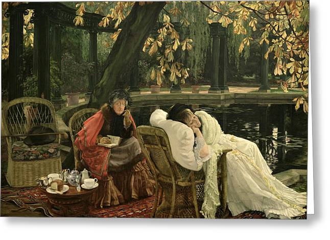 Pillow Paintings Greeting Cards - A Convalescent Greeting Card by James Jacques Joseph Tissot