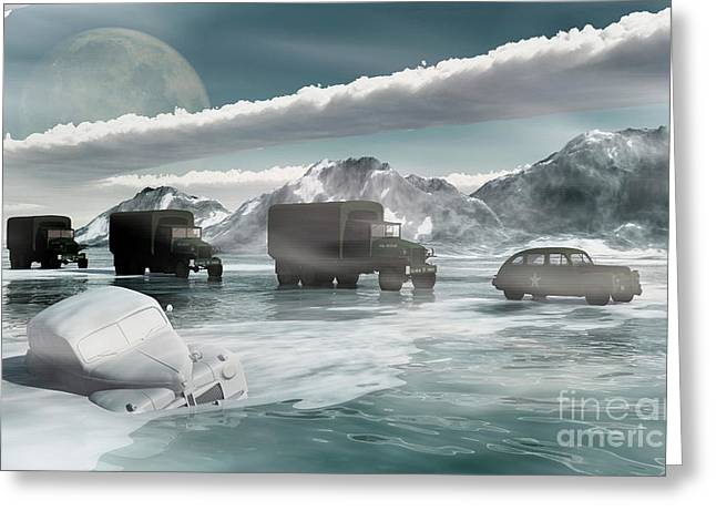 Cars In Winter Greeting Cards - A Convoy Of Military Vehicles Traveling Greeting Card by Mark Stevenson