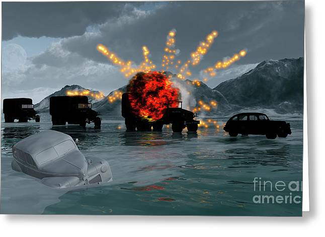 Cars In Winter Greeting Cards - A Convoy Of Military Vehicles With One Greeting Card by Mark Stevenson