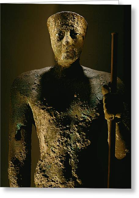 Pharaoh Greeting Cards - A Copper Statue Of Pepi I, The Last Greeting Card by Kenneth Garrett