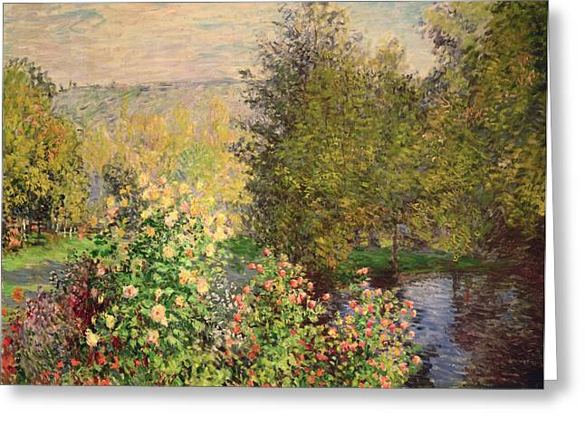 Canvas Floral Greeting Cards - A Corner of the Garden at Montgeron Greeting Card by Claude Monet