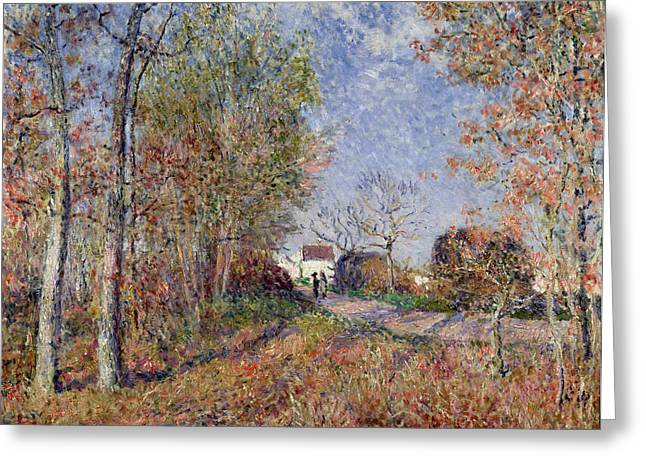 Farming Greeting Cards - A Corner of the Woods at Sablons Greeting Card by Alfred Sisley